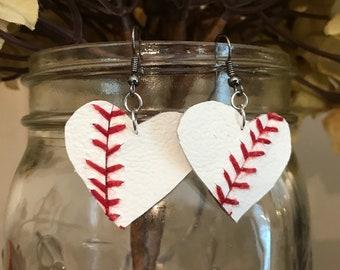 Leather Baseball Earrings