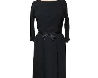 vintage 1960's black wiggle dress / rayon / lbd / bombshell / Mad Men / women's vintage dress / size medium