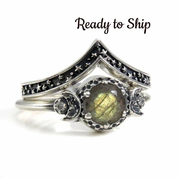 Ready to Ship Size 6 - 8 - Labradorite and Diamond Moon and Stars Sterling Silver Engagement Moon Ring Set