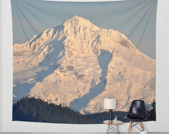 Wall Tapestry, Mountain wall Hanging, Mt. Hood Oregon, Cascade Wall tapestry, Volcano, Snow Wall Art, Mount Hood Large Wall Tapestry, Sunset