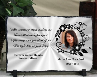 Personalized Memorial Stone Plaque Photo Keepsake Remembrance Stone Plaque Floral Frame Slate Any Poem