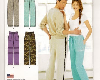 "A Straight Leg, Elastic Waist Casual Pants Sewing Pattern for Women & Men: Uncut - Sizes XS-S-M-L-XL, Hip 31"" - 49"" ~ Simplicity 1326"