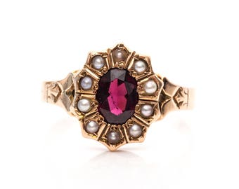 1 carat garnet and seed pearl Victorian 1890s Antique Gold Halo Ring, VJ #1089