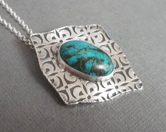 Genuine turquoise necklace, sterling silver turquoise jewelry, december birthstone jewelry, unique gifts, large pendant, big, metalwork