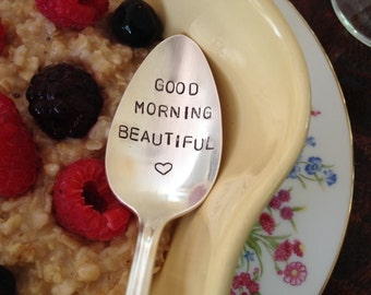 recycled silverware vintage silverware hand stamped Good Morning Beautiful spoon