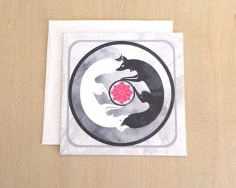 Kitsune Yin Yang - Friend or Foe 5x5 Blank Art Card