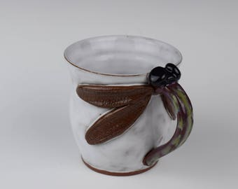 Hand-thrown Pottery Dragonfly Mug—In Stock and Ready to Ship