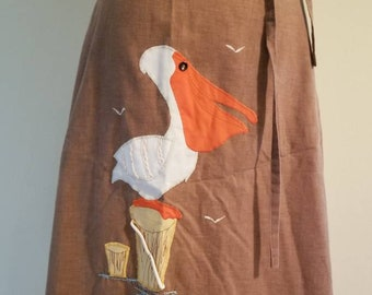 Vintage Brown Pelican Embroidered Wrap Skirt Country Fair 70s 80s