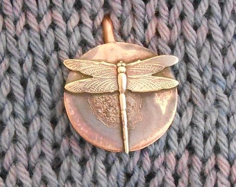Shawl Pin Copper Bronze Dragonfly