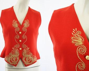 Vintage 90's Linda Allard Ellen Tracy Petite 100% Wool Red and Gold Woman's Retro Vest