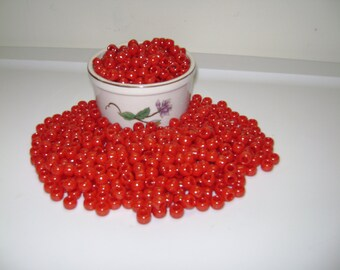 "6 x 9mm ""Red"" Plastic Pony Beads!! 50,100, 150, 200 etc...up to 500 Beads.!!"