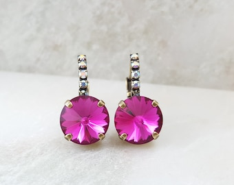 Pink Crystal Earrings - Fuchsia Rhinestone Earrings - Swarovski Crystal Jewelry - Rose Pink Earrings - Magenta Earrings - Hot Pink E3937