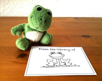 Ex Libris Frog from the library of 25 Personalized Bookplates Booklabels
