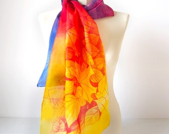Rainbow scarf - Multicolor scarves with Leafs scarf hand painted scarves - colorful scarves - gay scarf - LGBT pride - lesbian scarf