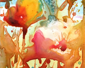 Abstract Poppies Watercolor - Signed Giclee Fine Art Print