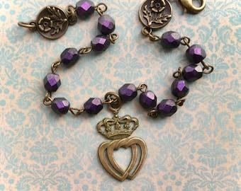 Interlocking Hearts - Heart Bracelet - Two Hearts - Love Jewelry - Romantic Jewelry - Antique Style Jewelry - Romantic Gift - Heart Jewelry