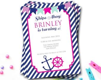Nautical Birthday Invitation, Nautical Birthday Invitation, Preppy Invitation, Anchor Invite, Navy And Pink, Girl Invitation, DIY Printable