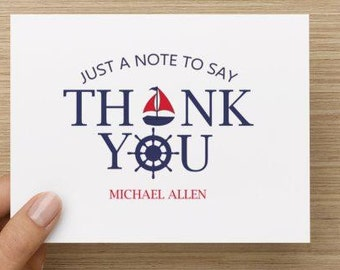 Baby thank you card: Personalized and personally designed baby boy baby nautical themed  shower thank you card! Packages of 10, 20, or 30