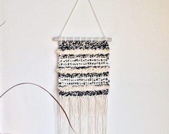 Black and White with Cream Stripes Handwoven Wall Hanging Fiber Art Modern Minimalist Textured Weaving Crimped Fringe Handmade