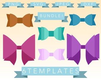 Diy Bow Template Cut File Bundle - SVG, PNG, JPEG - Cricut, Sihouette Cameo, Vector, craft, sale, bows, 3d bow, sale, discount, deal, cheer