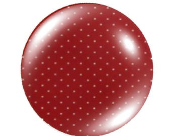 Set of 2 cabochon 20mm round glass fairy tale little Red Riding Hood with polka dots