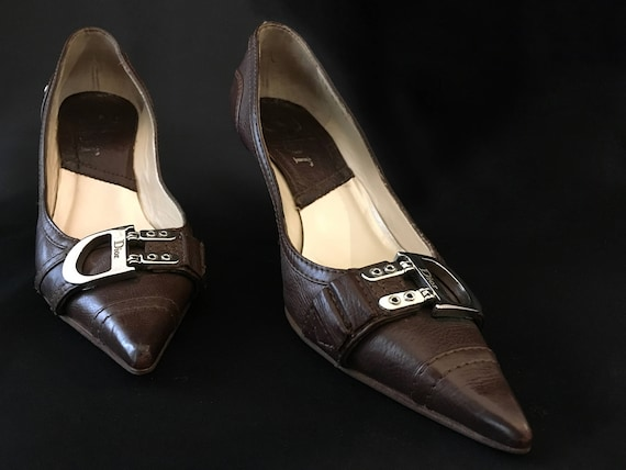 Size Leather Brown Shoes Fashion CD Buckle Shoes Shoes Heels Pointed Pumps 6 Shoes High toe Dior Woman Vintage Chic C1xqAA