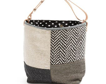 Small bucket bag Bizet, black, white, dark grey, tweed, Canvas bag, Handbag, Shoulder bag, Top handle bag, Leather handle