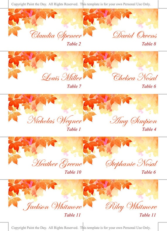 DIY Wedding Place Cards Template Watercolor Fall - Reserved place card template