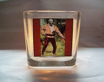 lucha libre candle holder retro Mexican wrestler votive kitsch rockabilly decor