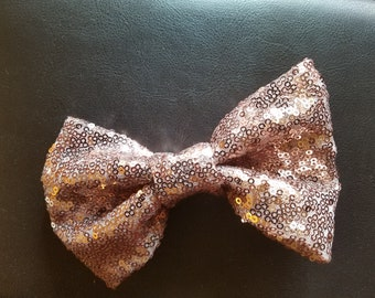 Rose Gold Sequin clip-on Bowtie