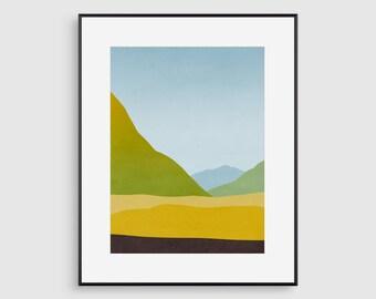 Landscape Wall Art Print, Mountain Art Print, Abstract Landscape Painting, Nature Print, Scandinavian Art, Minimalist Art