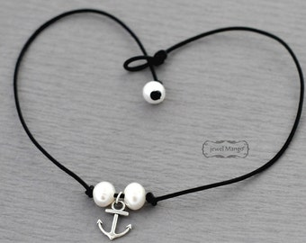 Anchor Double pearl leather necklace,pearl necklace, leather, knot, Leather Pearl Choker, freshwater pearl leather necklace, Anchor necklace