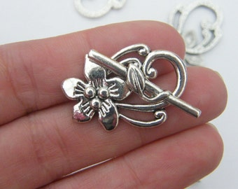 4 Flower toggle clasp sets antique silver tone FS80