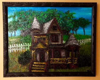 Victorian #oldhouse #victoriancastle #thisoldhouse #vintagehome #oilpaintingofvictorianera #victorianhomepaintingforsale #dwolfdesigns