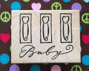 Cute Large Baby Rubber Stamp