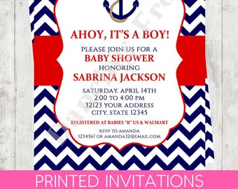 "Custom Printed 4.25X5.5"" Chevron Nautical Anchor Baby Shower Invitations, envelopes included"