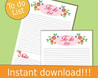 To Do List, To Do List Printable, Instant Download Planner, Planner, Printable Planner, Printable Organizer, Download Planner, Daily To Do