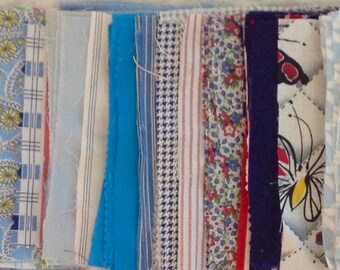 """Vintage 3 1/2"""" x 5 1/2"""" Shades of blue rectangle fabric pieces for repurposing - 8 ounces - various cotton types"""