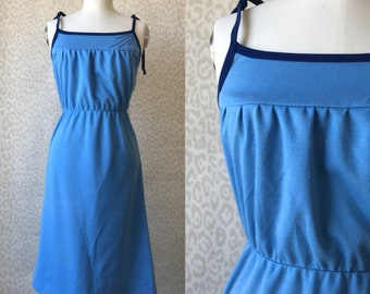 Blue strap dress size S, vintage strap dress, light and dark blue dress, tricot dress, knee dress, 80's fashion, retro style