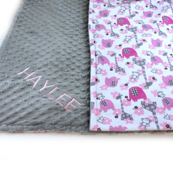 Elephant Personalized Minky Baby Blanket Girl, Animal Baby Blanket Gray Pink Minky Baby Blanket, Baby Shower Gift, Receiving Blanket