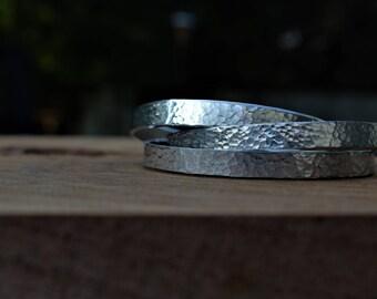 Silver cuff bracelet, hammered stacking bracelets, stackable bracelets, hammered aluminum cuff, simple everyday bracelet