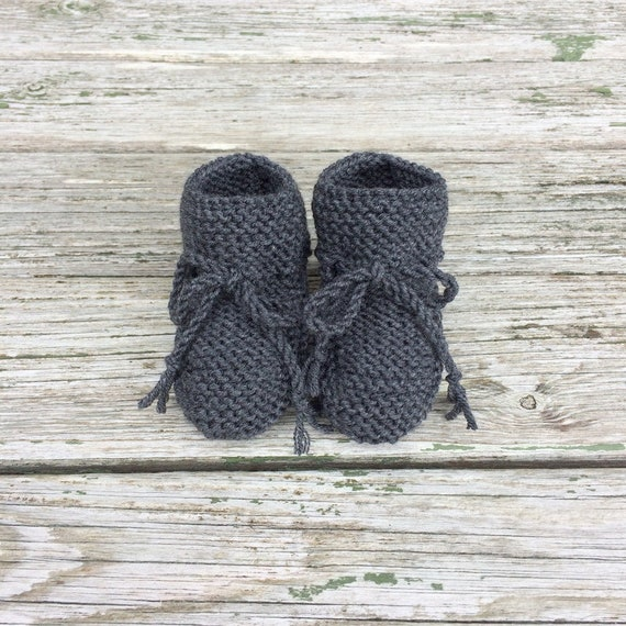 Classic Baby Booties in Charcoal Grey