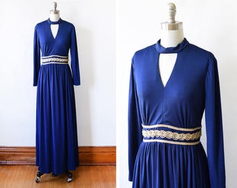 70s maxi dress, vintage 1970s disco dress, navy blue and gold gown, keyhole long sleeve metallic dress, small s