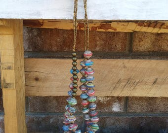 Multicolor Bronze and Paper Bead Double Strand Necklace