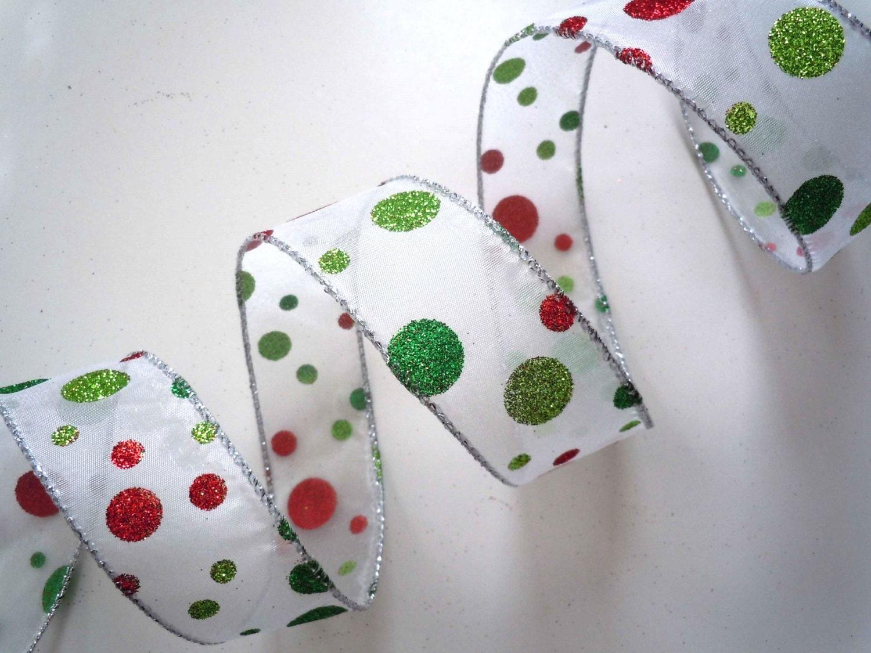 Weihnachten-rot-grün-Polka Punkten verdrahtet Band Funkeln