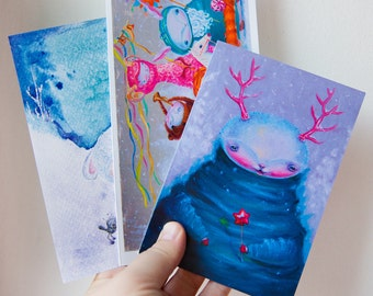 Set of 3  Christmas Cards - Holiday Card