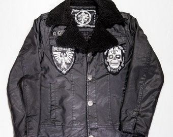 Custom MEDIUM Heavy Fur Winter Coat with Patches and Fur