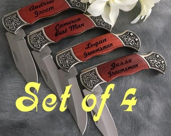 Groomsman Gifts/SET OF 4 Engraved Pocket Knives/Personalized Pocket Knives/Best Man Gift/Groom Gift/Mens Gift/Fathers Day Gift