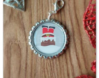 Santa in chimney Bottlecap planner charm,  purse charm, zipper pull, key charm, classic christmas