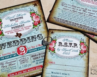 Vintage Carnival Themed Wedding Invitation Circus themed